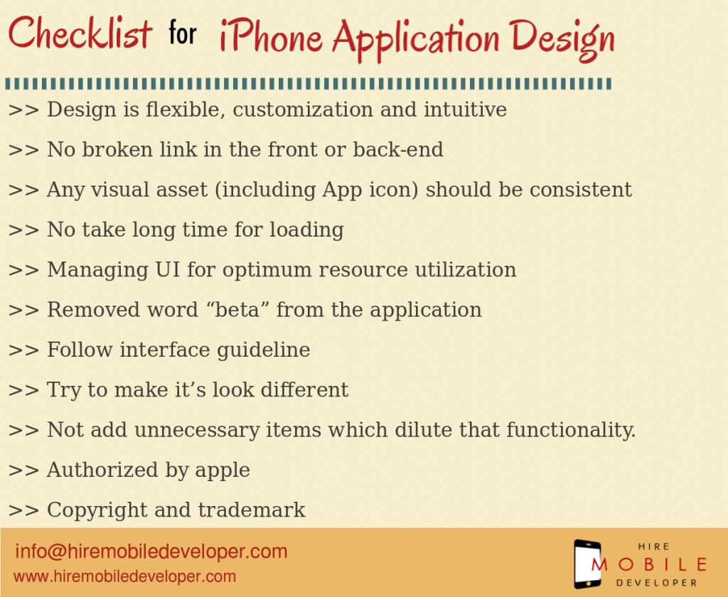 Checklist for iPhone app design